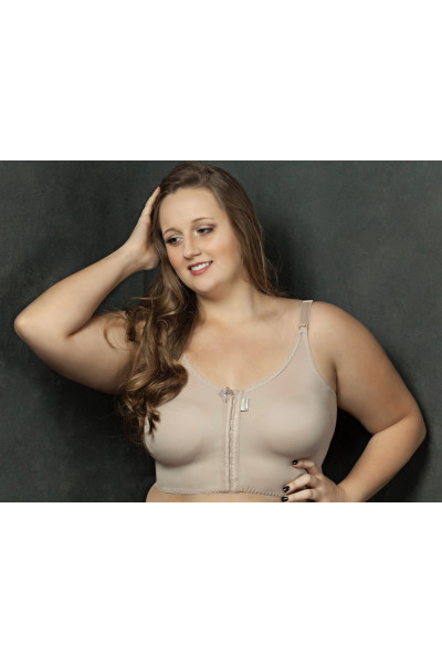 SUTIÃ SEM COSTURAS, FECHAMENTO FRONTAL, PLUS SIZE 1007PS BEGE